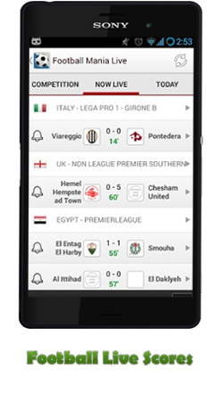 دانلود برنامه Football Live Scores (نمایش زنده نتایج فوتبال) برای اندروید